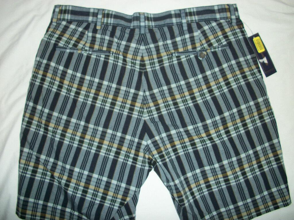 NWT  Polo Ralph Lauren Navy Plaid Dress Shorts 34