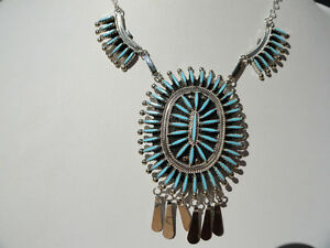 Native-American-Zuni-sterling-silver-needle-point-turquoise-necklace-set-signed