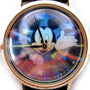 VINTAGE-LORUS-MICKEY-MOUSE-Sun-Rays-Stars-HOLOGRAM-Mens-Womens-Wristwatch-WATCH