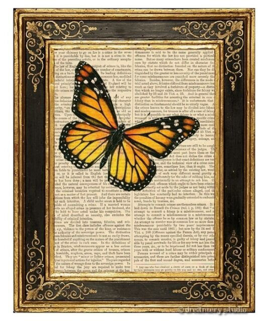 Yellow Butterfly Art Print on Antique Book Page Vintage Illustration Insect