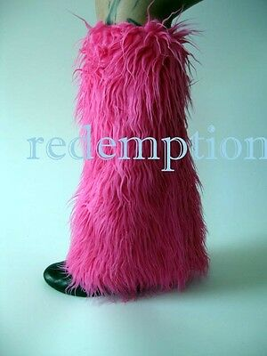 *Demonia Huge Furry Cyber Goth Anime Rave Monster Fake Fur Boot Covers HOT PINK