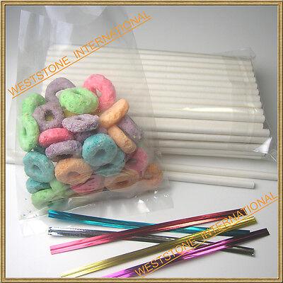 100 (3 1/2 Lollipop Stick + Poly Bag + Twist Tie) for cake pop or lollipop candy