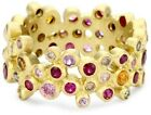 Annie Annie Fensterstock Wide Vega 18k Yellow Gold, Sapphire, Ruby and Diamond Ring, Size 7