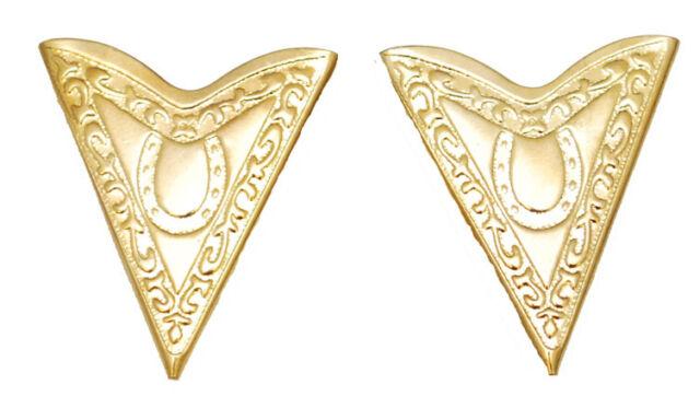 NEW! Western Collar Tips - Gold Horseshoe 1 1/2