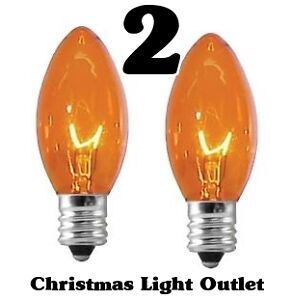 2-C7-Orange-Xmas-Halloween-Light-Glass-Bulbs-5-Watt-Transparent