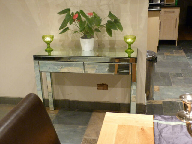 Venetian Mirrored Glass Dressing Table console hallway twin drawer dresser