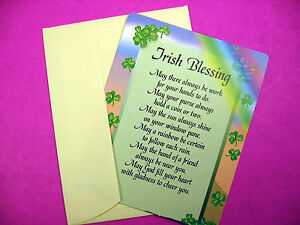 """ Irish Blessing "" Poem- Irish Greeting/Note Card - Blank Inside - Sku# 627"