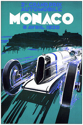 3012.Grand Prix Automobile Vintage Ad POSTER. Monaco 1930 Decorative  wall Art.