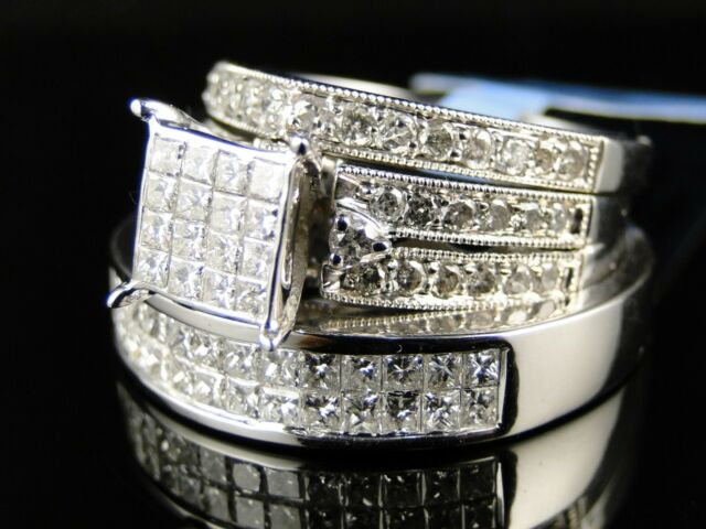 Ladies Mens 10K White Gold Diamond Engagement Bridal Wedding Ring Trio Set 2 Ct