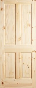 4 panel raised knotty pine stain grade solid core rustic - Solid wood raised panel interior doors ...