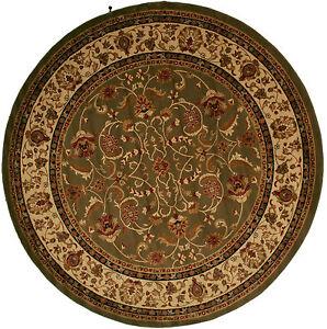 8 foot round area rug rugs new large huge traditional border sage green pattern. Black Bedroom Furniture Sets. Home Design Ideas
