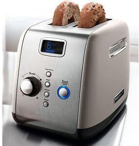 kitchenaid digital backlt lcd display kmt223cs 2 slice toaster silver electronic ebay. Black Bedroom Furniture Sets. Home Design Ideas