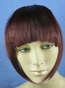 cherry red clip in on fake fringe bangs hair extension fancy dress - Slough, United Kingdom - cherry red clip in on fake fringe bangs hair extension fancy dress - Slough, United Kingdom