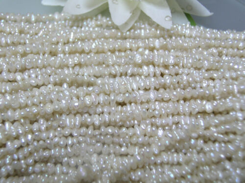 AAA Vintage freshwater tiny small oval biwa pearl-side drilled 3 strands 2-3.5mm