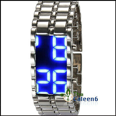The unique new steel mirror blue and red LED neutral fashion sports watch time