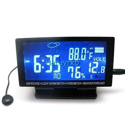 12v LCD Digital Clock TIME Car Thermometer Hygrometer Voltage Weather Forecast