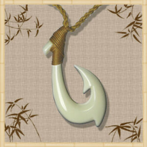 Handmade mens sports white bone fish hook necklace for Maui fish hook necklace