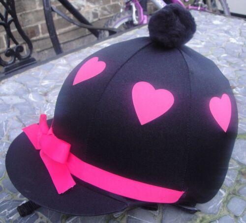 Pink Hearts /& ruban avec ou sans pompon Équitation Chapeau soie tête Cap couverture noir