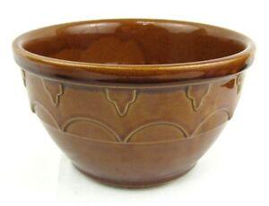 Vintage-Cardinal-Stoneware-Yelloware-Brown-Mixing-Bowl-Pottery-B