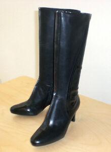 Easy-Spirit-Damans-boot-black-leather-sz-9-Med-NEW