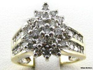 75ctw-Genuine-Diamond-Cluster-Ring-10k-Solid-White-Yellow-Gold-Estate-Women-039-s