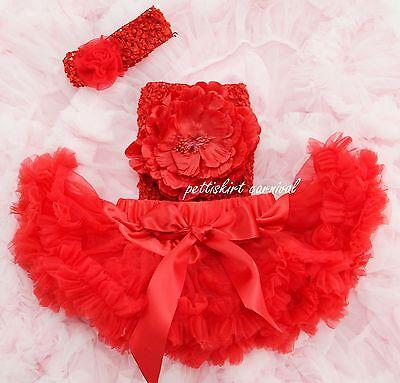 Newborn Baby Red Pettiskirt Tutu Peony Tube Top Rosette Headband 3pcs NB-6M