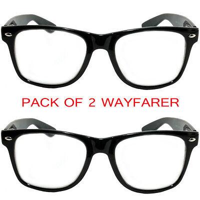 MJ Eyewear's 2-pack Black Frame Clear Lens Horned Rim Glasses