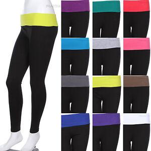 Contrast-Fold-Over-Waistband-Skinny-Yoga-Pants-Leggings-Cotton-Span-Good-Quality