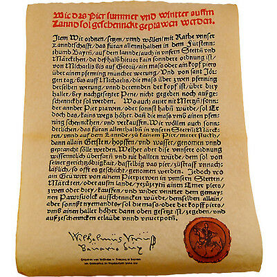 Reinheitsgebot German Beer Purity Law Parchment Poster - Drinking Enthusiasts
