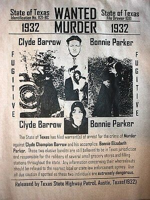 "(103) GANGSTER BONNIE & CLYDE GANG TEXAS REWARD WANTED DEPRESSION POSTER 11""x14"""