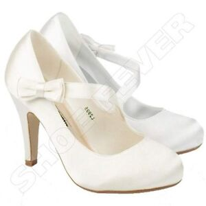 WOMENS WEDDING SHOES LADIES HEELS SATIN BRIDAL BRIDESMAID WHITE ...