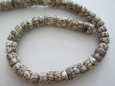 Natural WHite and Brown Salwag Heishi Rondelle Beads 40pc  4mm  x 10mm