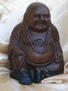 SMALL-BUDDHA-BROWN-WOOD-EFFECT-LAUGHING-JOLLY-BHUDDA-STATUE-21CM-HIGH