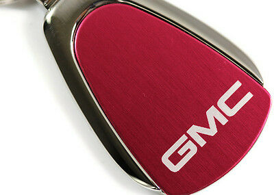 USED GMC Logo Etched RED Teardrop Keychain Chrome Key Fob Metal Keyring lanyard