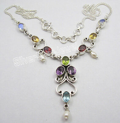 "925 Sterling Silver Authentic MULTISTONES HANDCRAFTED Necklace 17 5/8"" Inches"