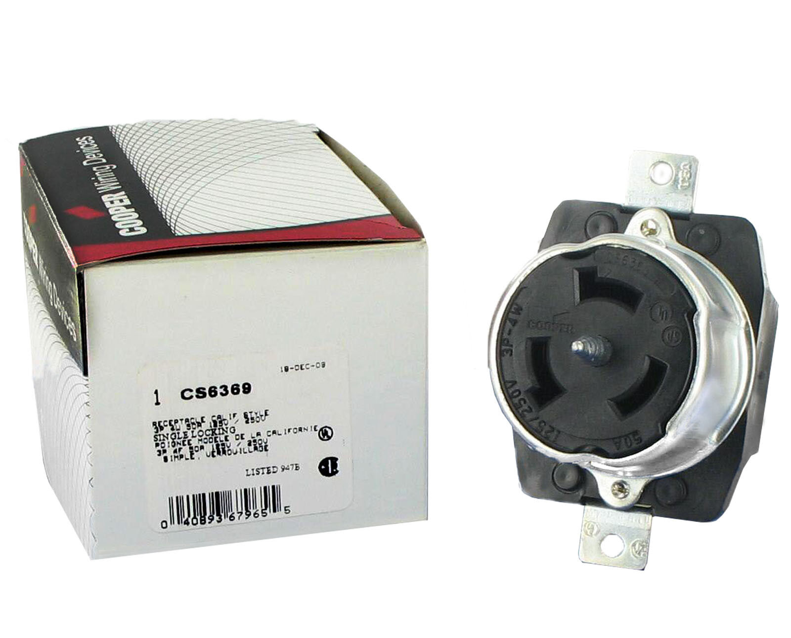 Arrow Hart Div Cooper CS6369 3 Pole 4 Wire 50a 125/250v Locking Receptacle