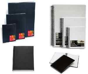 HARDBACK-SKETCHBOOKS-A6-A5-A4-A3-A2-SPIRAL-OR-CASE-BOUND-BLACK-OR-CANVAS-COVER
