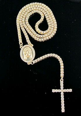 """NEW 36"""" 14K ICED OUT 1 ROW SIMULATED DIAMOND ROSARY CHAIN NECKLACE HIP HOP BLING"""