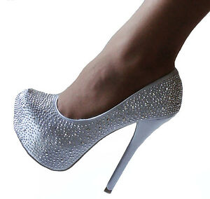 Silver Gray Rhinestone Hidden Platform Bridal Heels Pumps Shoes ...