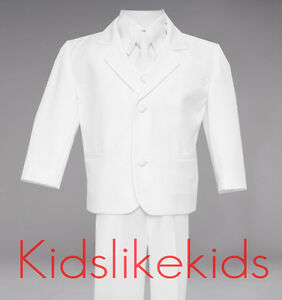 NEW-Boys-Formal-WHITE-Tuxedo-Suit-With-Tie-and-Vest-Size-2T-3T-4T-5-6-7-8-10-12