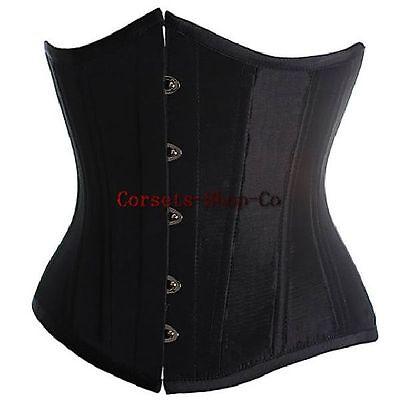 Black Lace up Boned Basque Underbust Satin Corset Body Shaper Plus Size S-6XL