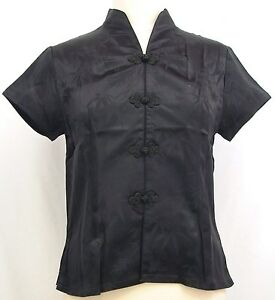 Asian-Inspired-Silk-Bamboo-Pattern-Short-Sleeves-Blouse-S-M-L-NEW