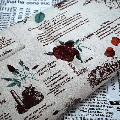 1m Shabby Chic Cotton Linen Craft Fabric Vintage Rose Flower Fairy Newspaper