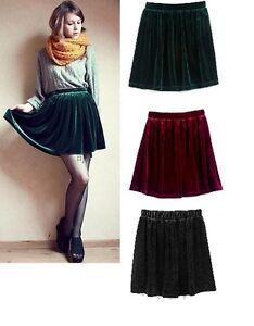 Retro-Velvet-Skirts-Skater-Style-S-M-L-6-8-10-12-high-waisted-NEW
