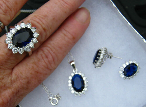Earrings /& Necklace Set Sterling Silver 925 Royal Blue Sapphire /& White CZ Ring