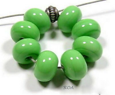 ROA Lampwork 8 Nile Green 5x8 mm Handmade USA Spacer Art Glass Beads SRA