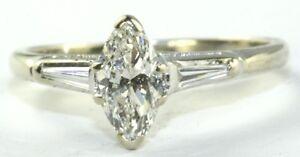 vtg 14k white gold 80 carat marquise engagement
