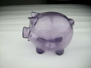 Transparent Plastic Coin Pig Piggy Money Bank Purple With Stopper Ebay