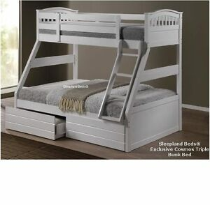 White-Triple-Bunk-Beds-New-Solid-Wooden-Three-Sleeper-Bed-Mattress-Optional