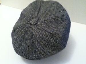 MENS-RETRO-1920-039-S-STYLE-GREY-HERRINGBONE-BAKER-BOY-CAP-NEWSBOY-8-PANEL-HAT